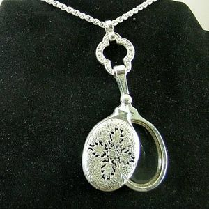 Jewelry - Magnifying Glass Necklace, Triple Plated Silver